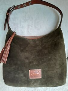Dooney Bourke Large Green Suede Slouchy Shoulder Bag Purse Brown Leather Trim