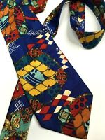 GIANNI VERSACE VINTAGE '90s EXOTIC GEOMETRIC TIE LOZENGE COLOR ROYAL BLUE ITALY