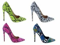 Kimye-4 Women Pointed Toe Slip On Stiletto High Heel Snake Python Print Pumps