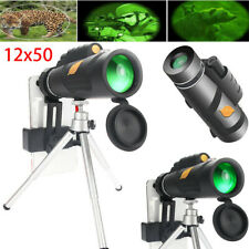 12X50 High Power Prism Monocular Telescope w/Tripod Holder Nightvision Hunting E