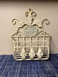 Farmhouse Heavy Metal Wall Kitchen Basket Wrought Iron Hanging Country Garden