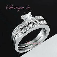 2027 18K White GOLD Plate SOLITAIRE ENGAGEMENT RING SIZE 7 SET SWAROVSKI CRYSTAL