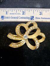 Swarovski crystal Brooch Gold Tone Ribbon Bow Brooch