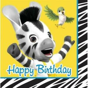 Zou Happy Birthday 3-Ply Paper Lunch Napkins 16 Pack Kids Birthday Decorations