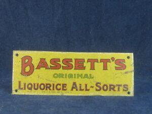 53405 Old Vintage Antique Tin Sign Shop Advert N0t Enamel Sweets Candy Bassett