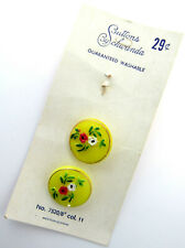 NOS Vintage Glass Buttons by Schwanda on Card Spring Yellow Hand Painted Flowers