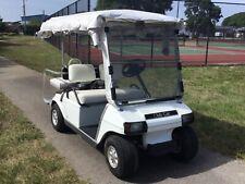 1996 white club car DS 48 volt 4 passenger seat golf cart w enclosure long top