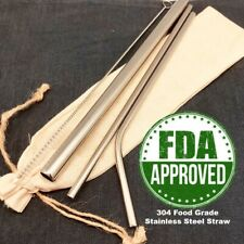FDA Approved Food Grade 304 Stainless Steel 5pcs Straw Set, Silver