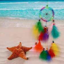 Attrape-rêve Rainbow Fait Main Dream Catcher Plume Perle Décor Mur Pendentif