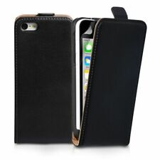 UK FREE POST Black Luxury Genuine Real Leather Flip Case Cover for iPhone 4/4s