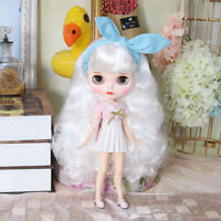 """12"""" Neo Blythe Doll From Factory Jointed Body White Hair With Make-up"""