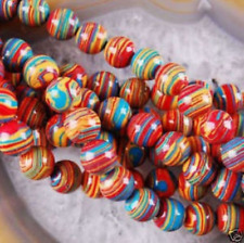 New 8mm Red Multicolor Turkey Turquoise Gemstone Round Loose Bead15''