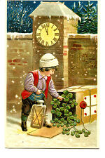 Little Boy-Lamp-Clover Package-Happy New Year Holiday Greeting Vintage Postcard