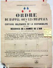 ORDRE DE MOBILISATION MILITAIRES ET RESERVE DE L'ARMEE DE L'AIR INDOCHINE ?