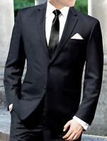 Men's Black Businesses Suit with Pants Semi-Formal Wedding Church Job Interview