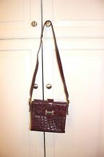 FRANCESCO BIASIA LEATHER CROCODILE EMBOSSED MADE IN ITALY WINE HANDBAG