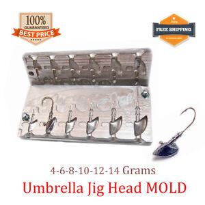 Fishing JigHead Umbrella Mold Lead Jig Head Sinker Weights 6 cavity (4 - 14 G)