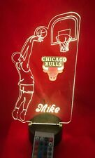 Chicago Bulls NBA Basketball Player Light Up Light Lamp LED Remote, Personalized