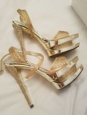 LADIES GOLD UNZE by Shalimar Shoes HIGH HEELS - Size 5
