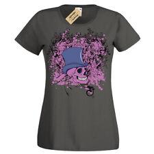 Skull Steampunk top hat gentleman gothic T-Shirt Womens Ladies