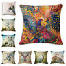 "18"" Phoenix deer Cotton Linen Throw Pillow Case Cushion Cover Home Sofa Decor"