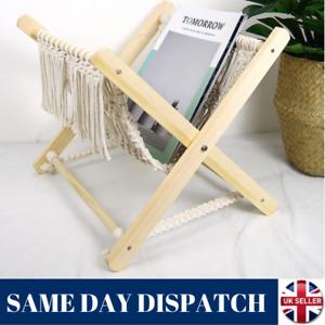Home Decor Cotton Woven Storage Basket Boho Macrame Magazine Rack Book Shelf UK