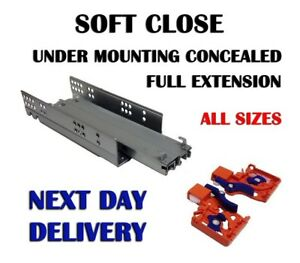 SOFT CLOSE UNDER MOUNTING CONCEALED FULL EXTENSION RUNNERS DRAWER