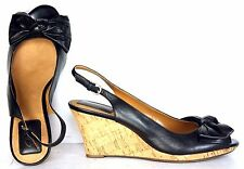 Clarks Womens Slingbacks Size 9.5 M Black Leather Open Toe Wedge Heels WH26