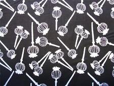 Poppy Passion Pods Black White Clothworks K. Roti Fabric Yard SALE 35% OFF