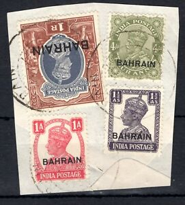 BAHRAIN KGV & KGVI Stamps{4} Used Piece India Overprints MIXED REIGNS SS339