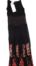 New Womens One Size India Boutique Black & Red Sundress Dress Bohemian Tie Dye