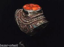 Traditioneller Tibetischer Türkis Ring tibetan turquoise ring neusilber  Nr.25