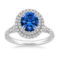 Solide 14K or Blanc 2.20 CT Vrai Diamant Saphir Naturel Bleu Anneau Taille M N