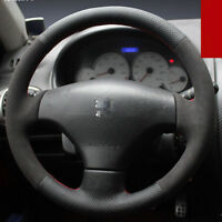 For Peugeot 206 Car Hand-stitched Steering Wheel Cover Non-slip Black Leather