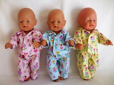 "BABY BORN 17""  DOLLS CLOTHES PINK, BLUE OR YELLOW PYJAMA'S WITH BEES AND FLOWERS"