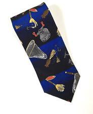 Keith Daniels Mens Necktie Fishing Reels Nets Lures Navy Novelty Tie