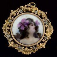 Antique Portrait Pendant beautiful woman with flower Gilt Metal Aesthetic C.1890
