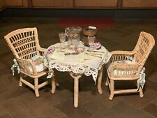 American Girl Doll, Pleasant Company Samantha's Wicker Table/Chairs/Tea Set