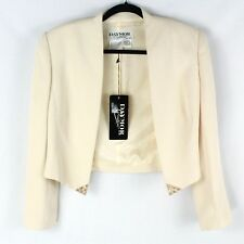 DAYMOR Couture Women's Champagne Blazer Size 10 Ivory Embellished Lined $650