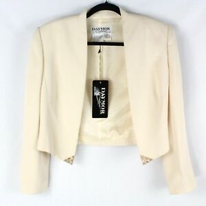 DAYMOR Couture Women's Champagne Blazer Size 10 Ivory Embellished Lined