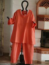 1958 LABASS Lagenlook Cotton Shirt unifarben kariert mandarin orange XXL 52 54