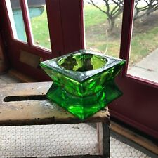 """6"""" x 6"""" Thick Emerald Green Glass Planter with Round 4.5"""" Inside Circle / 6 lbs"""