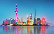 STUNNING SHANGHAI SKYLINE CITYSCAPE CANVAS #504 WALL HANGING PICTURE ART A1