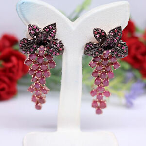 NATURAL 3 X 5 mm. RED RUBY & PINK SAPPHIRE EARRINGS 925 STERLING SILVER