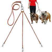 3 Way Leather Dog Leash Couple No Tangle Triple Walking Leads with Handle 3 Dogs