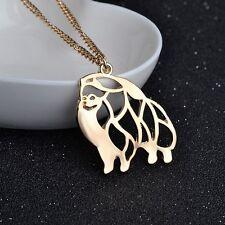 Artistic Gold Plate Pomeranian Dog Charm Necklace Pendant Pom Chain Pet Gift Pom