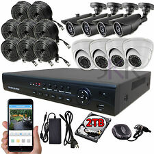 Sikker 8 Ch High Definition AHD 1080P DVR 2 Megapixel Camera Security System 2TB
