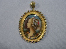 18k Gold Italy Miniature Portrait Pendant with Jewels