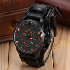 Curren Military Army Quartz Analog Sport Wrist Watch Date Fashion Black Leather