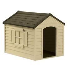 Snap Together Dog House Vinyl Doors Crowned Floor Outdoor Kennel Home Shelter